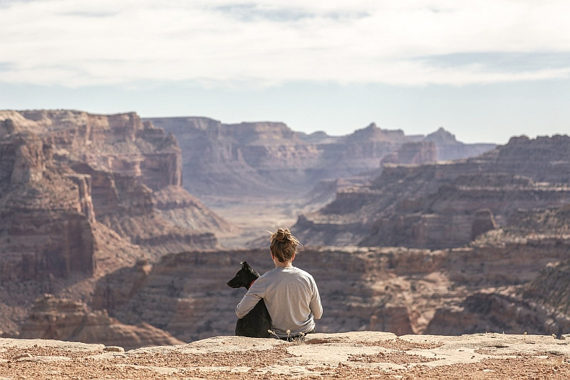 Girl and black dog sitting on the edge of the canyon