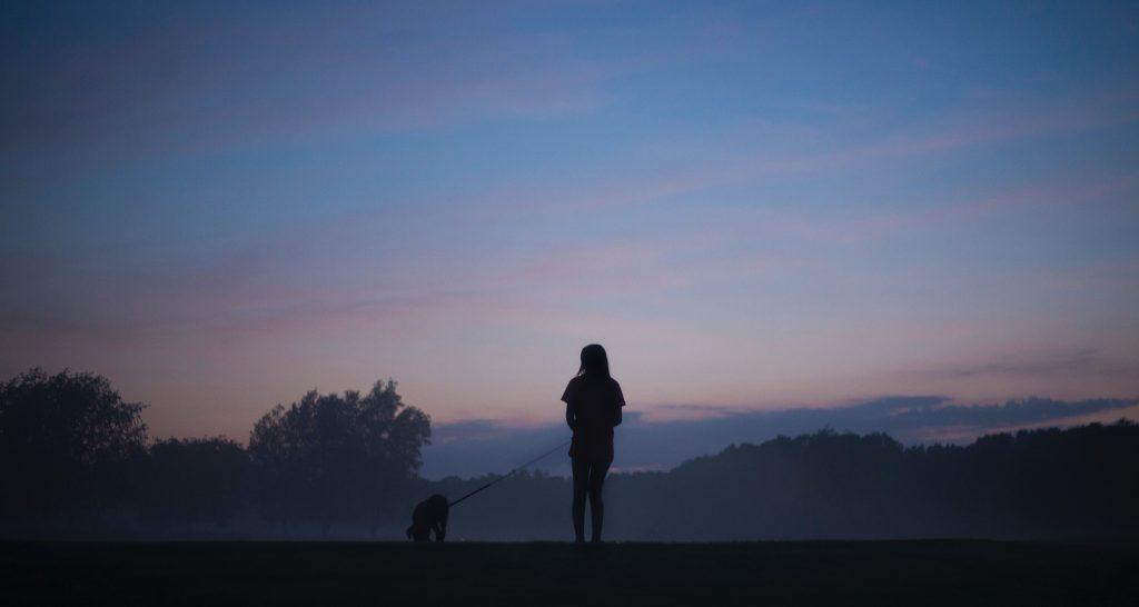 Girl walking dog at the dawn