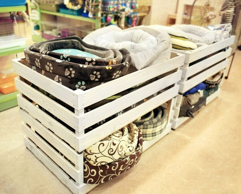 Wooden boxes with dog beds in pet shop